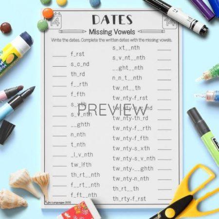 ESL English Dates Missing Vowels Activity Worksheet
