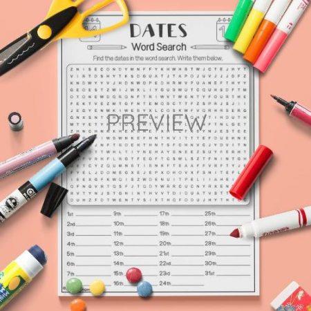 ESL English Dates Word Search Activity Worksheet