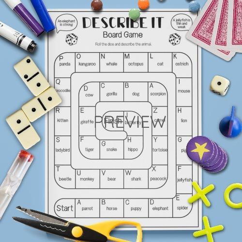 ESL English Describe It Board Game Activity Worksheet