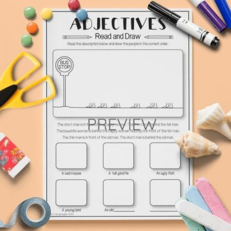 ESL English Adjectives Read And Draw Activity Worksheet
