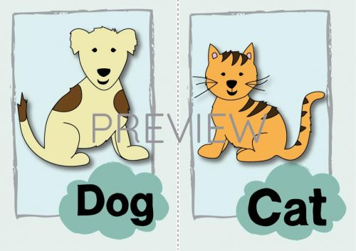 ESL English Dod And Cat Flashcard