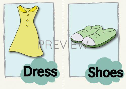 ESL English Dress and Shoes Flashcard