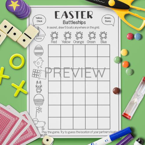 ESL English Easter Battleships Game Activity Worksheet