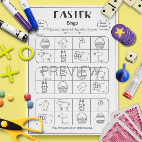 ESL English Easter Bingo Game Activity Worksheet