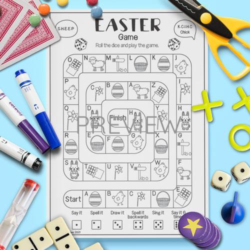 ESL English Easter Board Game Activity Worksheet