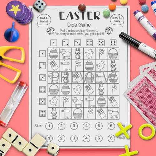 ESL English Easter Dice Game Activity Worksheet