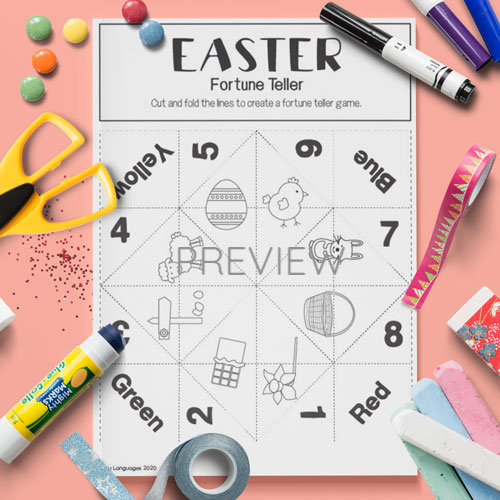 ESL English Easter Fortune Teller Game Craft Activity Worksheet
