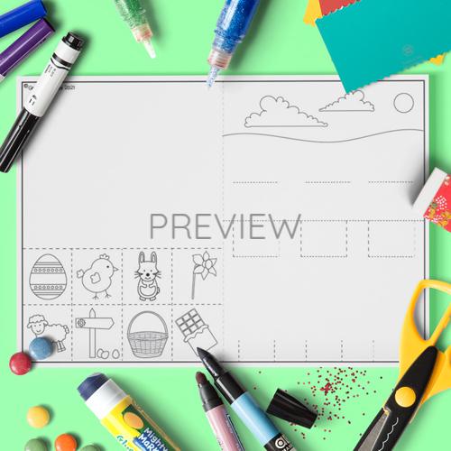 ESL English Easter Pop Up Scene Craft Activity Worksheet