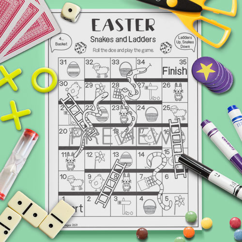 ESL English Easter Snakes And Ladders Game Activity Worksheet