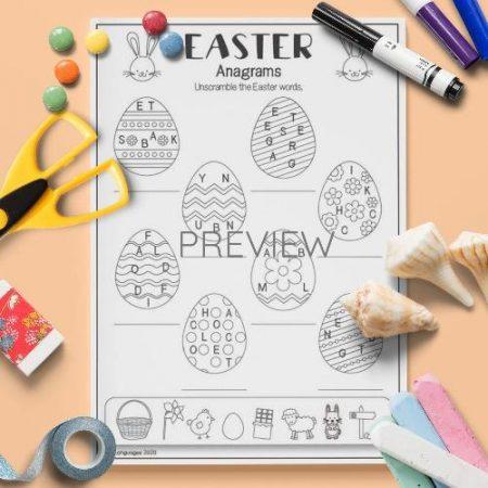 ESL English Easter Anagrams Activity Worksheet
