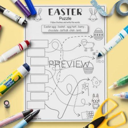 ESL English Easter Puzzle Activity Worksheet