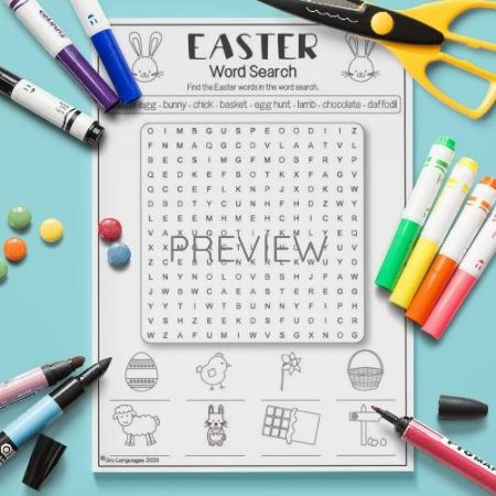 ESL English Easter Word Search Activity Worksheet