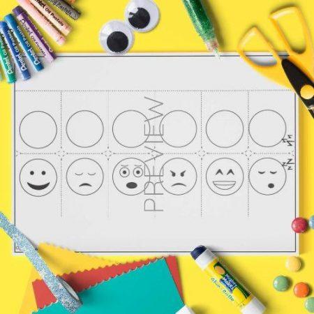 ESL English Emotions Finger Puppets Craft Activity Worksheet