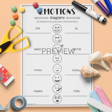 ESL English Emotions Anagrams Activity Worksheet