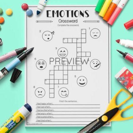 ESL English Emotions Crossword Activity Worksheet