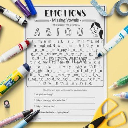 ESL English Emotions Missing Vowels Activity Worksheet