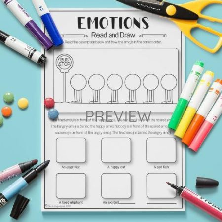 ESL English Emotions Read And Draw Activity Worksheet