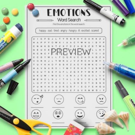 ESL English Emotions Word Search Activity Worksheet