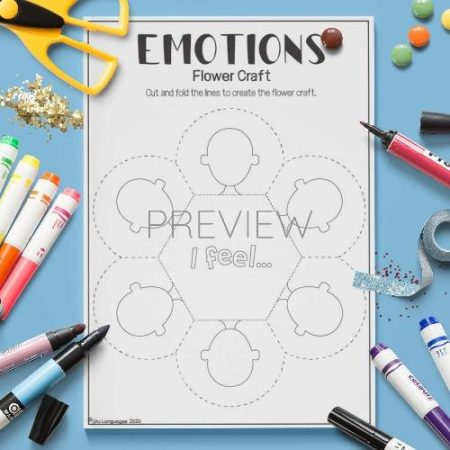 ESL English Emotions Flower Craft Activity Worksheet
