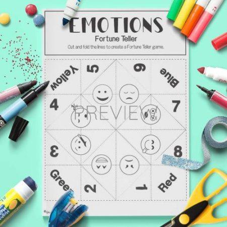 ESL English Emotions Fortune Teller Game Craft Activity Worksheet