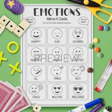ESL English Emotions Mime Card Game Activity Worksheet