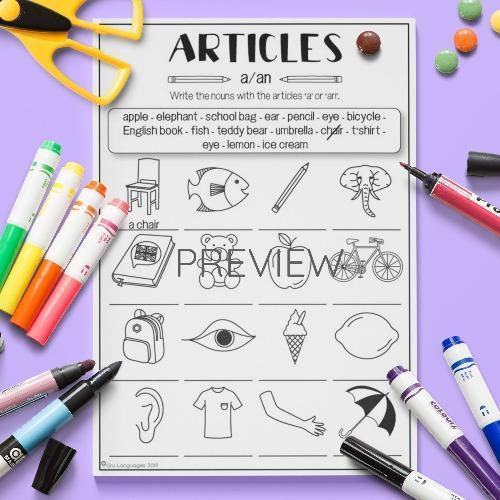 ESL English Articles Activity Worksheet