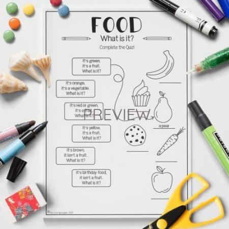 ESL English Food Quiz Activity Worksheet