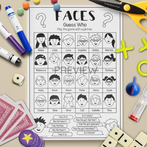 ESL English Faces Guess Who Game Activity Worksheet