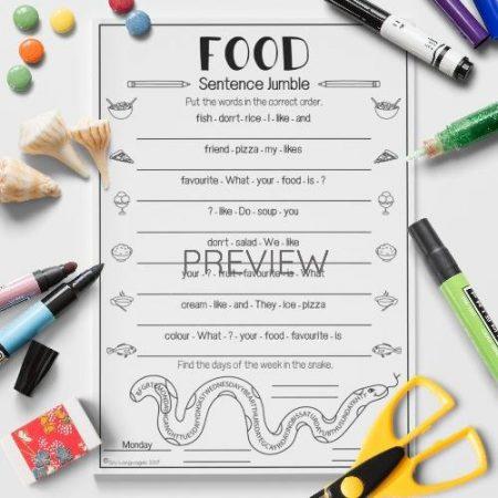 ESL English Food Sentence Jumble Activity Worksheet