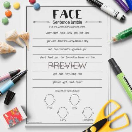 ESL English Face Sentence Jumble Activity Worksheet