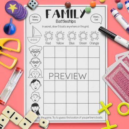 ESL English Family Battleships Game Activity Worksheet