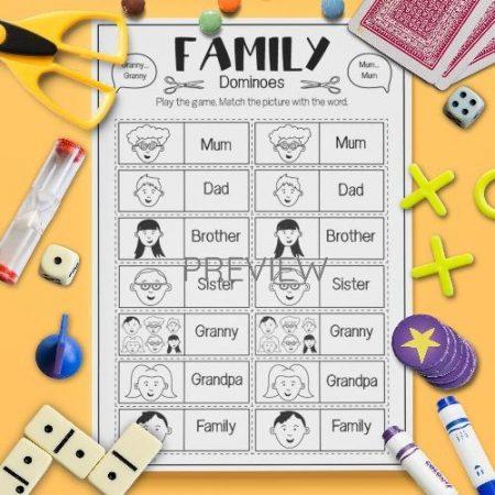 ESL English Family Dominoes Game Activity Worksheet