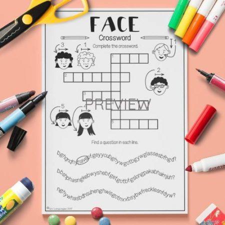 ESL English Face Crossword Activity Worksheet