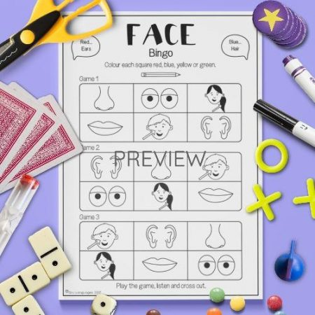 ESL English Face Bingo Game Activity Worksheet