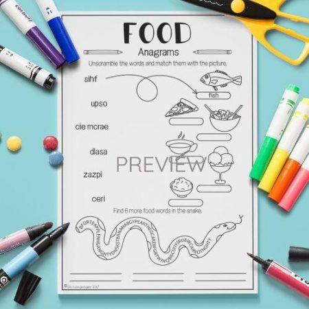ESL English Food Anagrams Activity Worksheet