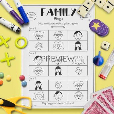 ESL English Family Bingo Game Activity Worksheet