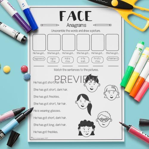 ESL English Face Anagrams Activity Worksheet