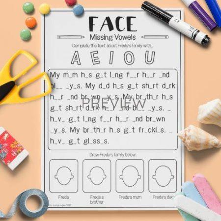 ESL English Face Missing Vowels Activity Worksheet