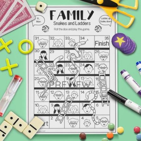 ESL English Family Snakes And Ladders Game Activity Worksheet