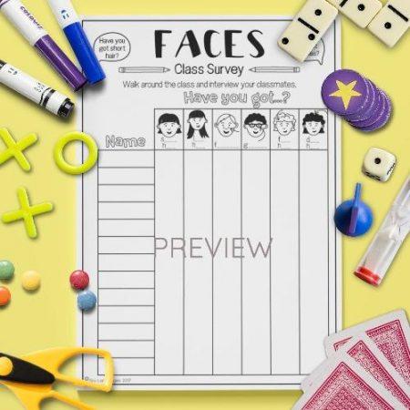 ESL English Face Class Survey Activity Worksheet