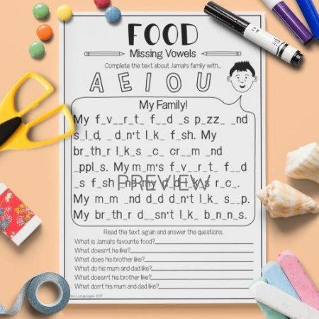 ESL English Food Missing Vowels Activity Worksheet