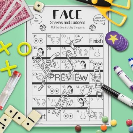 ESL English Face Snakes And Ladders Game Activity Worksheet