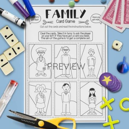 ESL English Family Card Game Activity Worksheet