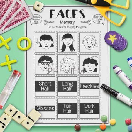 ESL English Face Memory Game Activity Worksheet