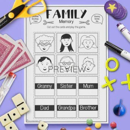 ESL English Family Memory Game Activity Worksheet