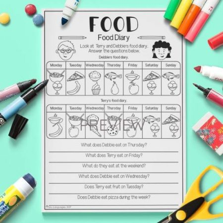 ESL English Food Diary Activity Worksheet