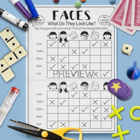 ESL English Face What Do They Look Like Game Activity Worksheet