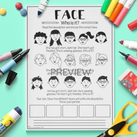 ESL English Face Who Is Who Activity Worksheet