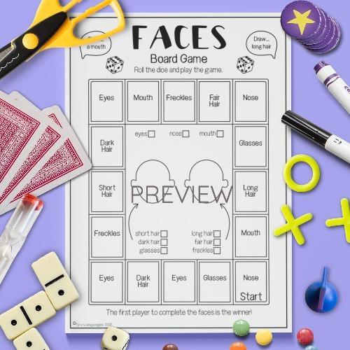 ESL English Face Drawing Game Activity Worksheet