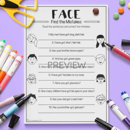 ESL English Face Find The Mistake Activity Worksheet